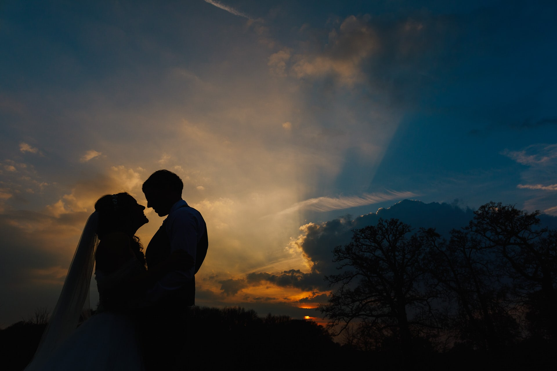 Sunset at the beautiful grounds of Loseley Park Wedding