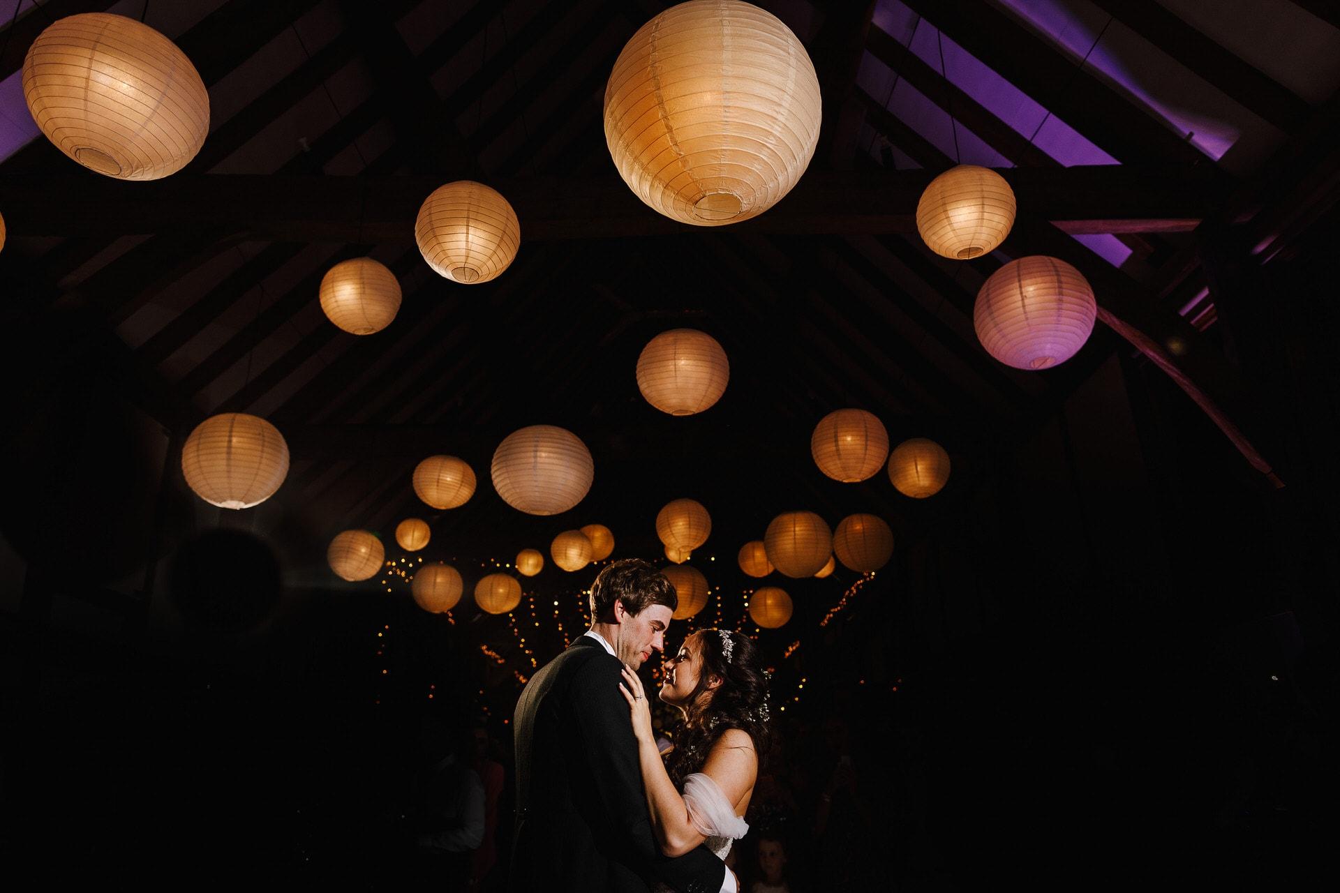 Colour-changing lanterns at Loseley Park wedding