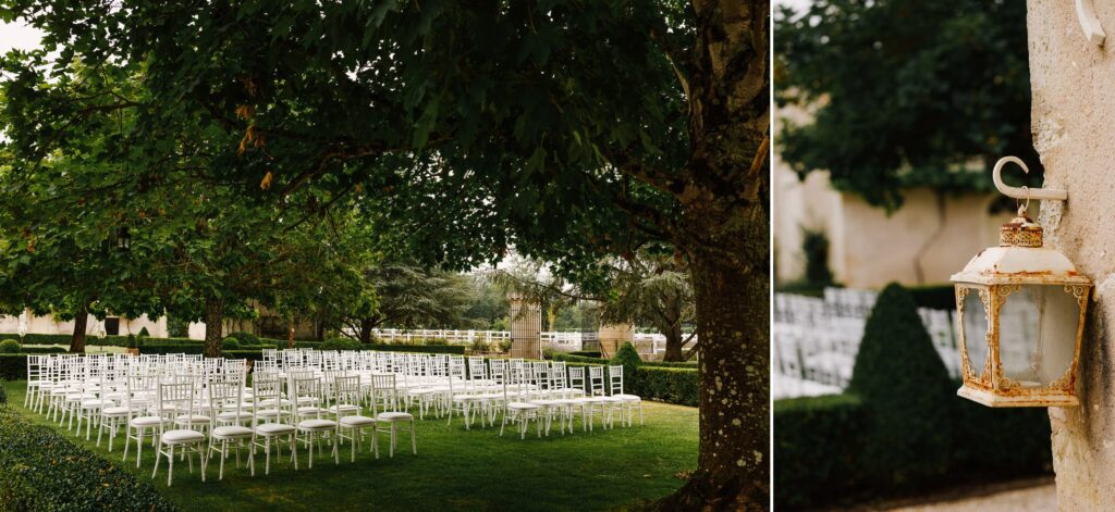 Chairs on lawn for outdoor courtyard wedding at Chateau Soulac