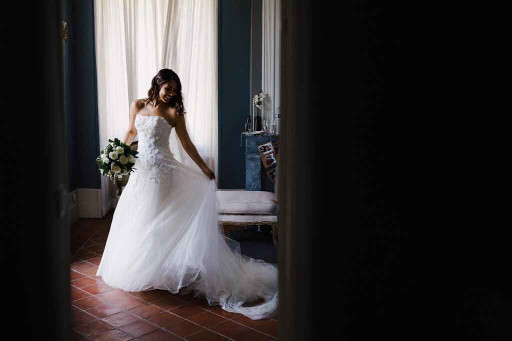 Bride in Pronovias dress at Chateau Soulac