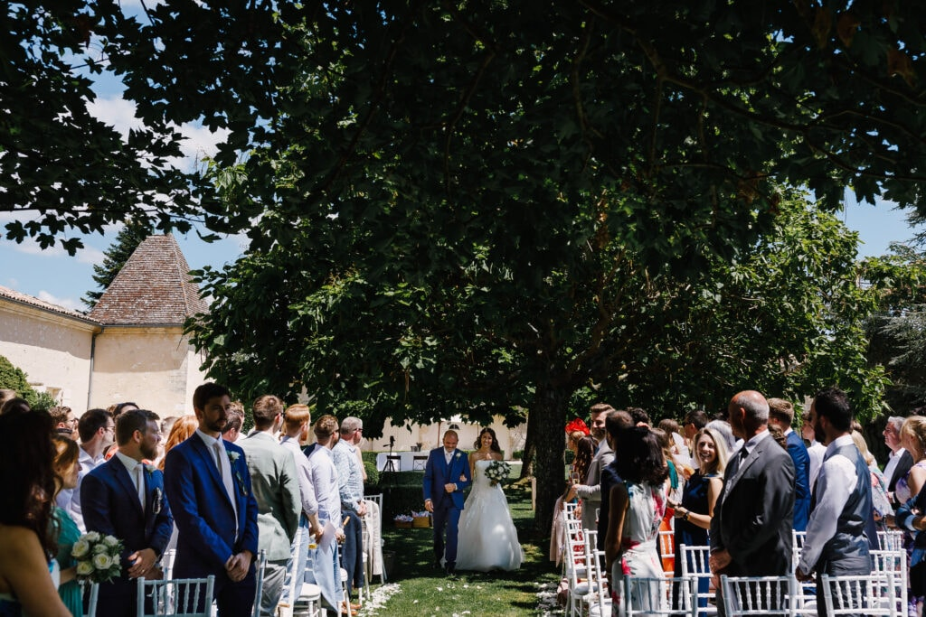 Outdoor wedding at Chateau Soulac