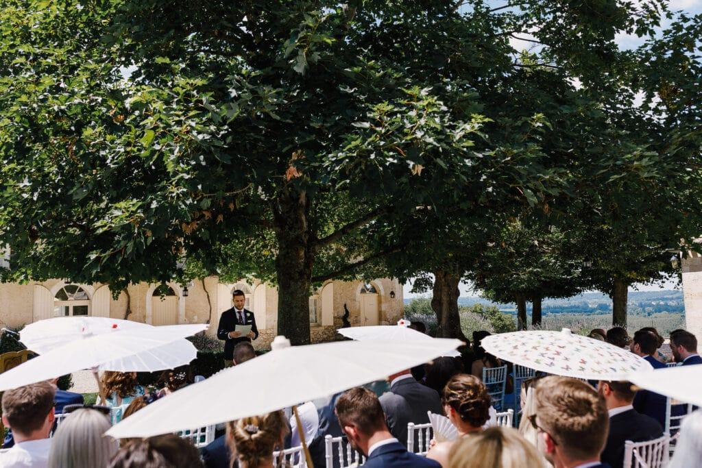 Parasols at Outdoor wedding at Chateau Soulac