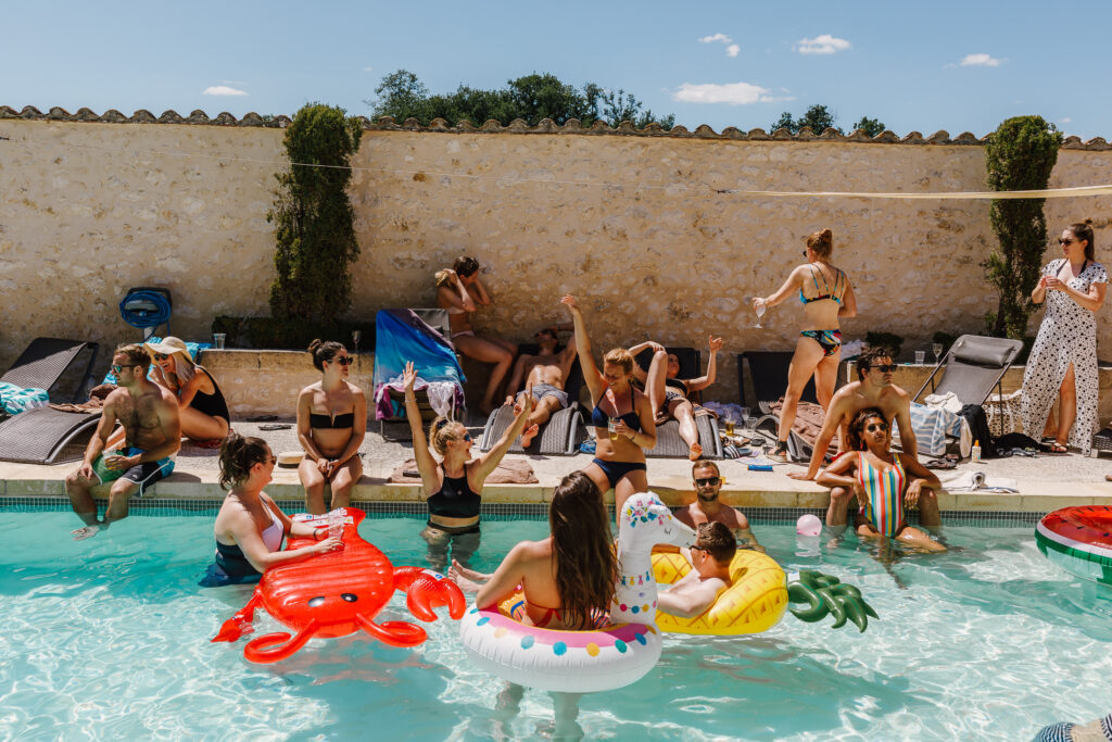 Wedding pool party at Chateau Soulac